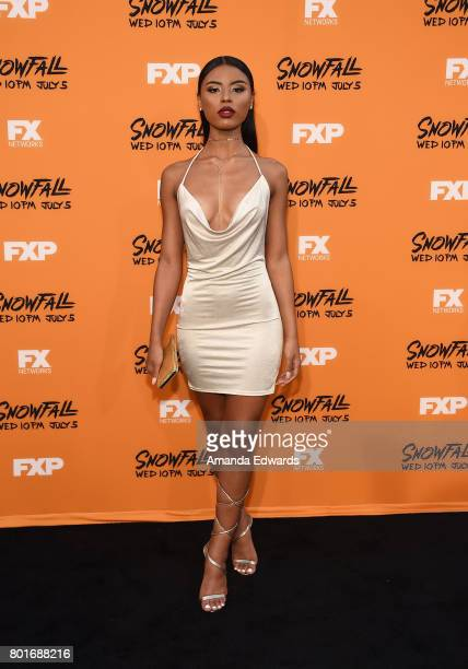 Olivia Larke arrives at the premiere of FX's 'Snowfall' at The Theatre at Ace Hotel on June 26 2017 in Los Angeles California