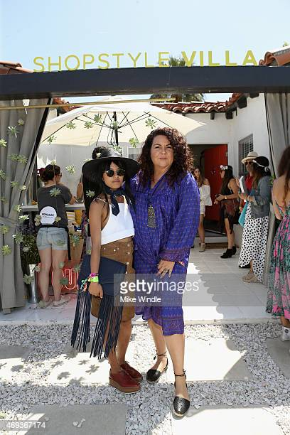 Olivia Lopez and designer Cynthia Vincent attend POPSUGAR SHOPSTYLE'S Cabana Club Pool Parties Day 1 at the Avalon Hotel on April 11 2015 in Palm...