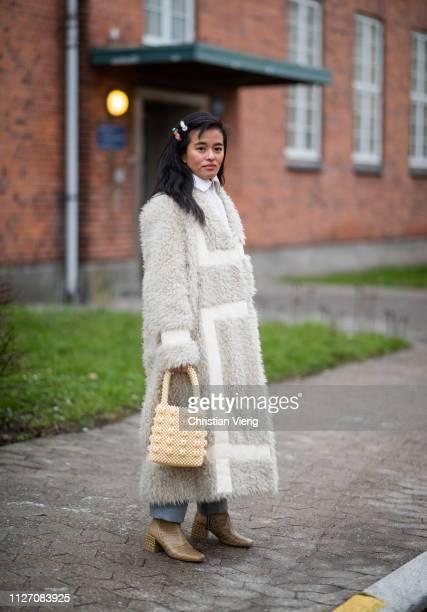 Olivia Lopez is seen outside Baum und Pferdgarten during the Copenhagen Fashion Week Autumn/Winter 2019 Day 3 on January 31 2019 in Copenhagen Denmark