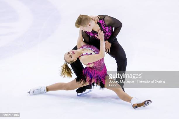 Olivia Mcisaac and Elliott Graham of Canada compete in the Ice Dance Short Dance during day two of the ISU Junior Grand Prix of Figure Skating at...