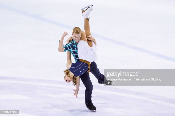 Olivia Mcisaac and Elliott Graham of Canada compete in the Ice Dance Free Dance during day three of the ISU Junior Grand Prix of Figure Skating at...