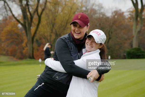 Olivia Mehaffey and Leona Maguire have a laugh during Curtis Cup practice at Quaker Ridge GC on November 22 2017 in Scarsdale New York