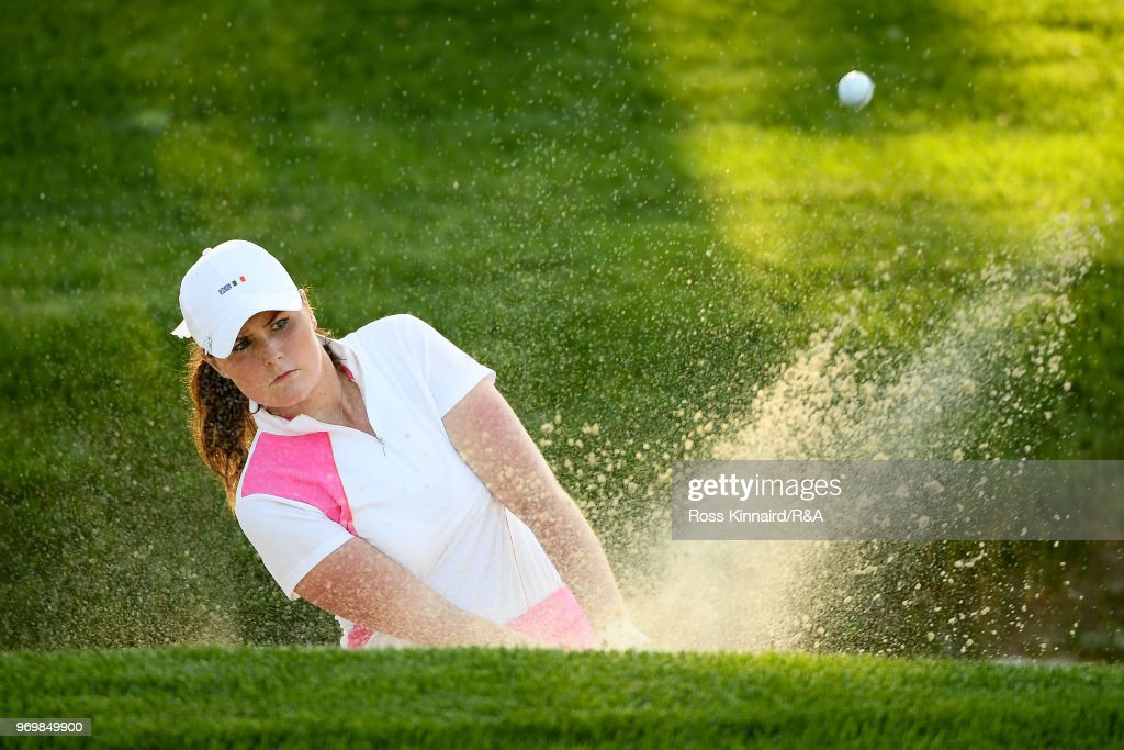 Olivia Mehaffey of Great Britian & Ireland plays a shot from a bunker on the 13th hole during foursomes matches on day one of the 2018 Curtis Cup at Quaker Ridge Golf Club on June 8, 2018 in Scarsdale, New York.