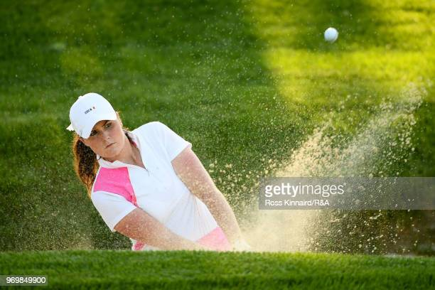 Olivia Mehaffey of Great Britian Ireland plays a shot from a bunker on the 13th hole during foursomes matches on day one of the 2018 Curtis Cup at...