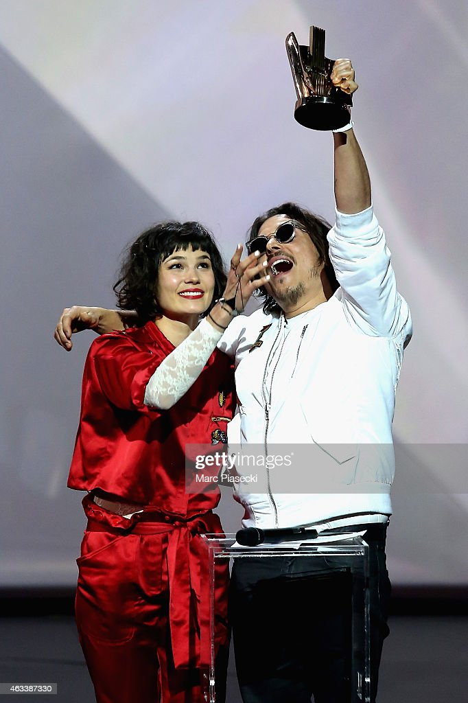 Olivia Merilahti and Dan Levy from The Do receive the rock award for the album 'Shake, shook, shaken' during the 30th 'Victoires de la Musique' French Music Awards Ceremony at le Zenith on February 13, 2015 in Paris, France.