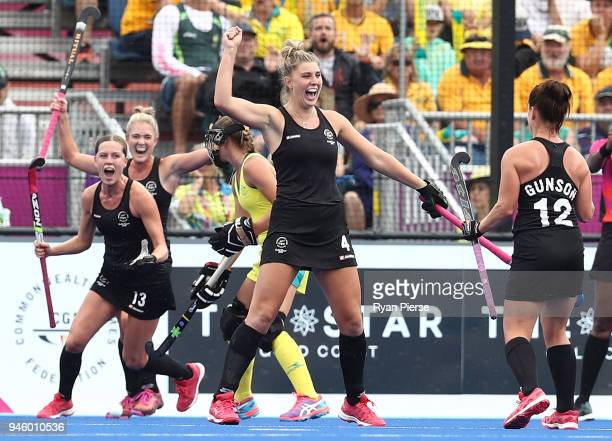 Olivia Merry of New Zealand celebrates after scoring her teams second goal during the Women's Gold Medal match between Australia and New Zealand...