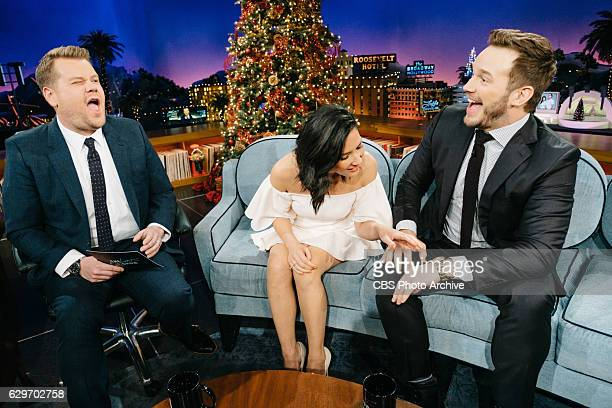Olivia Munn and Chris Pratt chat with James Corden during 'The Late Late Show with James Corden' Thursday December 8 2016 On The CBS Television...