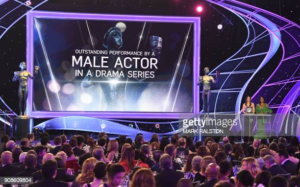 Olivia Munn and Niecy Nash speak onstage during the 24th Annual Screen Actors Guild Awards show at The Shrine Auditorium on January 21 2018 in Los...