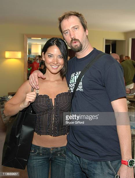 Olivia Munn and Tom Green during Phat Farm Baby Phat and Stuff Magazine Gifting Lounge August 12 2006 at The Hard Rock Hotel and Casino in Las Vegas...