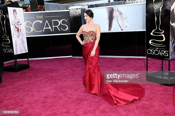 Olivia Munn arrives at the 85th Annual Academy Awards at Hollywood Highland Center on February 24 2013 in Hollywood California