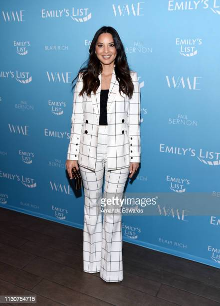 Olivia Munn arrives at the EMILY's List 2nd Annual Pre-Oscars Event at the Four Seasons Los Angeles at Beverly Hills on February 19, 2019 in Los...