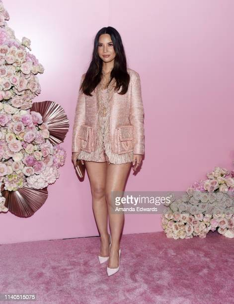 Olivia Munn arrives at the launch of Patrick Ta's Beauty Collection at Goya Studios on April 04 2019 in Los Angeles California