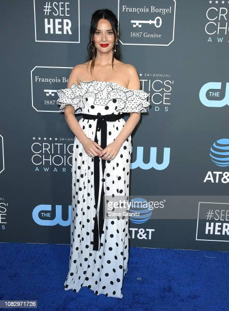 Olivia Munn arrives at the The 24th Annual Critics' Choice Awards attends The 24th Annual Critics' Choice Awards at Barker Hangar on January 13 2019...