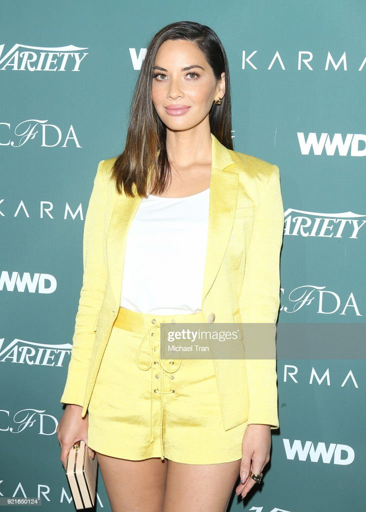 Olivia Munn arrives to the Council of Fashion Designers of America luncheon held at Chateau Marmont on February 20, 2018 in Los Angeles, California.