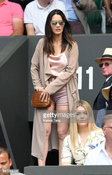 Olivia Munn attends day ten of the Wimbledon Tennis Championships at the All England Lawn Tennis and Croquet Club on July 12 2018 in London England