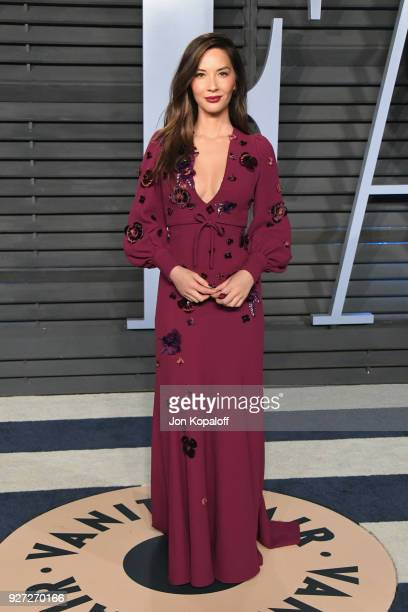 Olivia Munn attends the 2018 Vanity Fair Oscar Party hosted by Radhika Jones at Wallis Annenberg Center for the Performing Arts on March 4 2018 in...