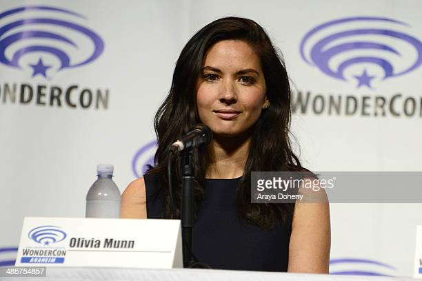 Olivia Munn attends the 'Deliver Us From Evil' panel at WonderCon Anaheim 2014 Day 2 at Anaheim Convention Center on April 19 2014 in Anaheim...