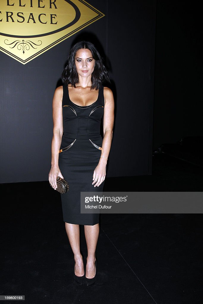 Olivia Munn attends the Versace Spring/Summer 2013 Haute-Couture show as part of Paris Fashion Week at Le Centorial on January 20, 2013 in Paris, France.