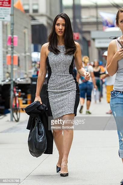 Olivia Munn is seen on location in Times Square for The Newsroom on July 19 2014 in New York City