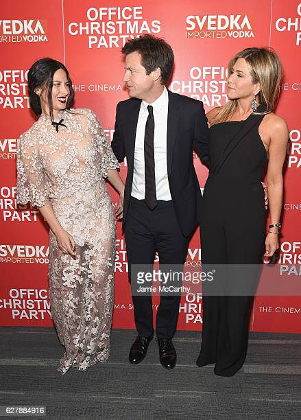 Olivia Munn Jason Bateman and Jennifer Aniston attend the Paramount Pictures with The Cinema Society Svedka host a screening of 'Office Christmas...
