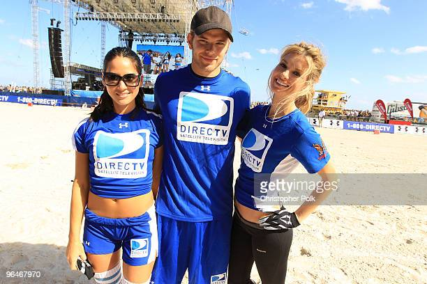 Olivia Munn Kellan Lutz and model Marisa Miller attend the Fourth Annual DIRECTV Celebrity Beach Bowl at DIRECTV Celebrity Beach Bowl Stadium South...