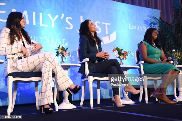 Olivia Munn Melissa Fumero and Kim Foxx speak onstage during Raising Our Voices Supporting More Women in Hollywood Politics at Four Seasons Hotel Los...
