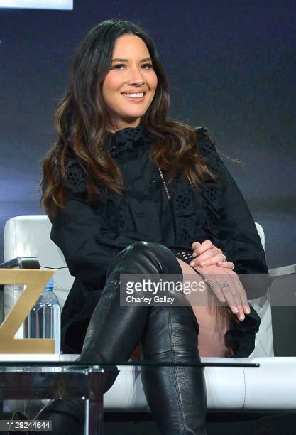 Olivia Munn of 'The Rook' speaks onstage during Starz 2019 Winter TCA Panel & All-Star After Party on February 12, 2019 in Los Angeles, California.