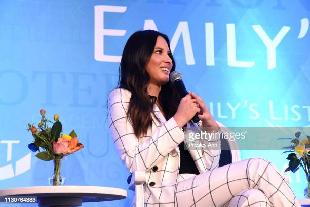 Olivia Munn speaks onstage during Raising Our Voices Supporting More Women in Hollywood Politics at Four Seasons Hotel Los Angeles in Beverly Hills...