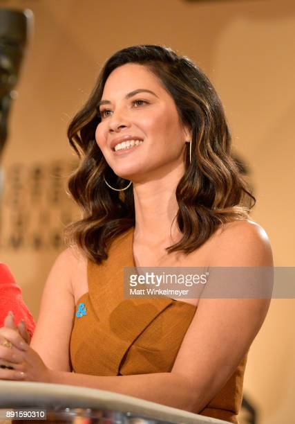 Olivia Munn speaks onstage during the 24th Annual SAG Awards Nominations Announcement at SilverScreen Theater at the Pacific Design Center on...