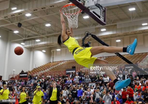 Olivia NelsonOdoda of WinderBarrow High School attempts a dunk during the 2018 McDonald's All American Game POWERADE Jam Fest at Forbes Arena on...