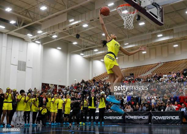 Olivia NelsonOdoda of WinderBarrow High School dunks during the 2018 McDonald's All American Game POWERADE Jam Fest at Forbes Arena on March 26 2018...