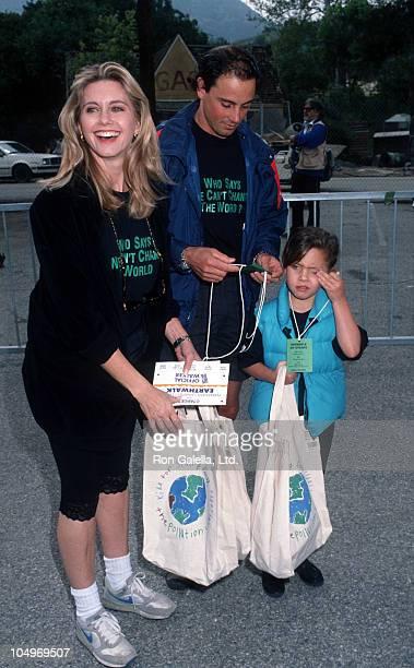 Olivia Newton John, Matt Lattanzi, and daughter Chloe Lattanzi during 1992 Earth Walk at Universal Studios in Universal City, California, United...
