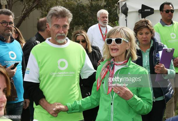 Olivia NewtonJohn and her husband John Easterling look on during the annual Wellness Walk and Research Runon September 16 2018 in Melbourne Australia...