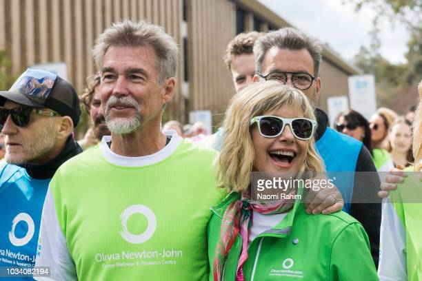 Olivia NewtonJohn and husband John Easterling during the annual Wellness Walk and Research Run on September 16 2018 in Melbourne Australia The annual...