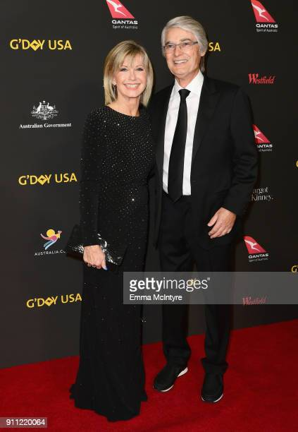 Olivia NewtonJohn and John Farrar attend 2018 G'Day USA Los Angeles Black Tie Gala at InterContinental Los Angeles Downtown on January 27 2018 in Los...