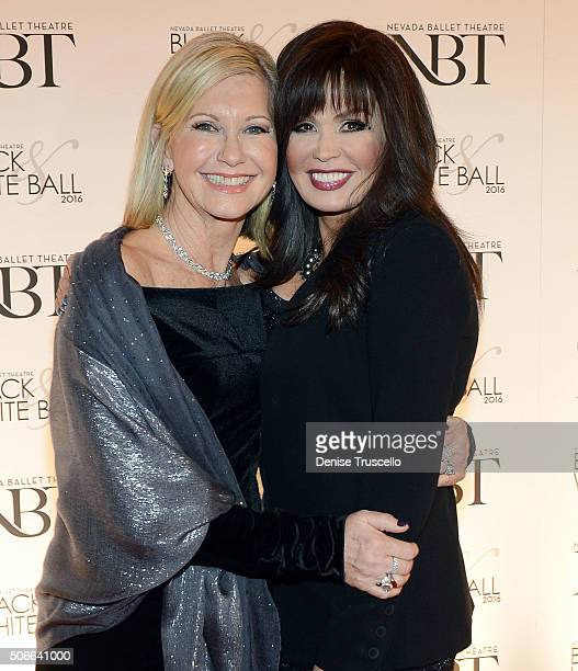 Olivia NewtonJohn and Marie Osmond arrive at Nevada Ballet Theater's 32nd Annual Black White Ball at Wynn Las Vegas on January 23 2016 in Las Vegas...