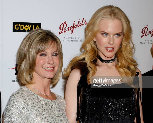 Olivia NewtonJohn and Nicole Kidman during 2nd Annual Penfolds Gala Black Tie Dinner Arrivals at Century Plaza Hotel in Century City California...