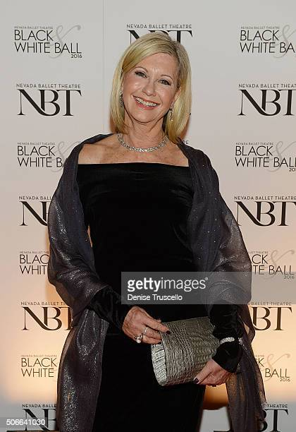 Olivia NewtonJohn arrives at Nevada Ballet Theater's 32nd Annual Black White Ball at Wynn Las Vegas on January 23 2016 in Las Vegas Nevada