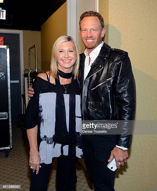 Olivia NewtonJohn backstage with Ian Ziering at the Flamingo Las Vegas on July 1 2014 in Las Vegas Nevada