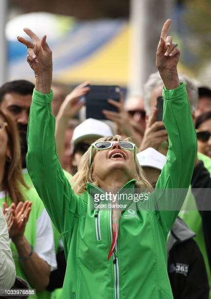 Olivia NewtonJohn celebrates during the annual Wellness Walk and Research Runon September 16 2018 in Melbourne Australia The annual event now in it's...