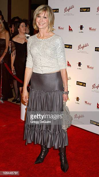 Olivia NewtonJohn during 2nd Annual Penfolds Gala Black Tie Dinner Arrivals at Century Plaza Hotel in Century City California United States