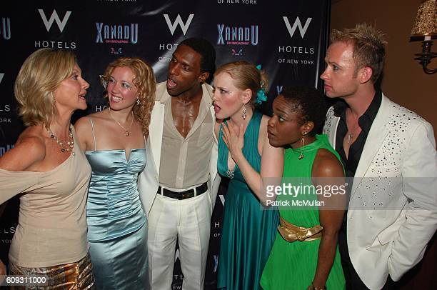 Olivia NewtonJohn Patti Murin Andre Ward Anika Larsen Kenita Miller and Marty Thomas attend XANADU opening night afterparty at Providence NYC on July...
