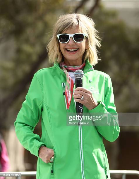 Olivia NewtonJohn speaks on stage during the annual Wellness Walk and Research Runon September 16 2018 in Melbourne Australia The annual event now in...