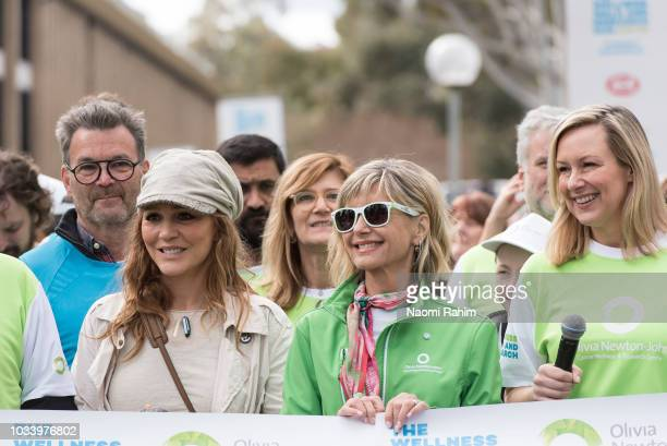 Olivia NewtonJohn Tottie Goldsmith and Melissa Doyle during the annual Wellness Walk and Research Runon September 16 2018 in Melbourne Australia The...