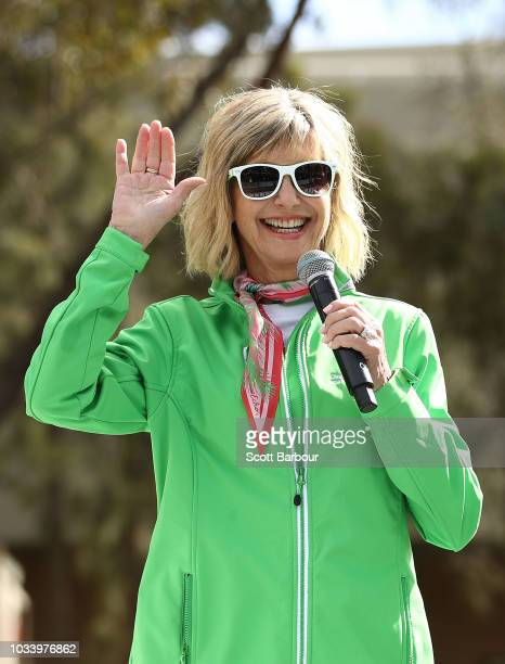 Olivia NewtonJohn waves during the annual Wellness Walk and Research Runon September 16 2018 in Melbourne Australia The annual event now in it's...