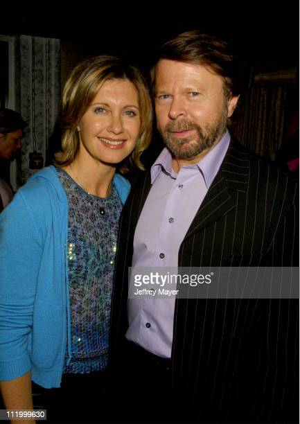 Olivia NewtonJohn with Bjorn Ulvaeus of ABBA during 'Mamma Mia' Afterparty at Century Club in Los Angeles California United States