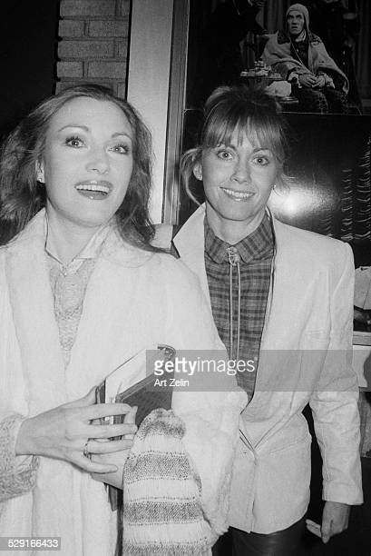 Olivia NewtonJohn with Jane Seymore outside a theater circa 1970 New York