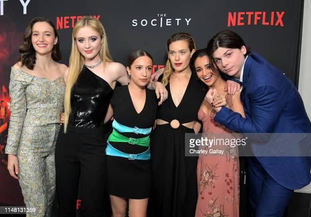 Olivia Nikkanen Kathryn Newton Gideon Adlon Rachel Keller Salena Qureshi and Jack Mulhern attends Netflix's 'The Society' premiere at Regal Cinemas...