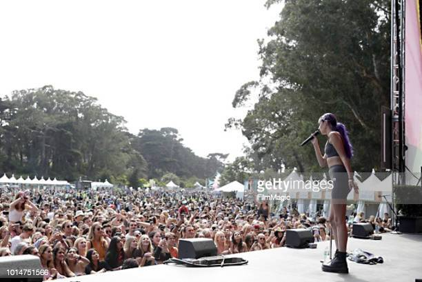Olivia O'Brien performs on the Panhandle Stage during the 2018 Outside Lands Music And Arts Festival at Golden Gate Park on August 10 2018 in San...