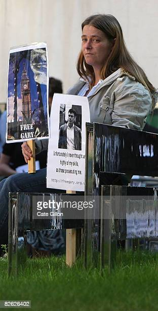 Olivia O'Reilly a friend of the McKinnon family attends a peaceful demonstration held in support of British computer hacker Gary McKinnon outside the...
